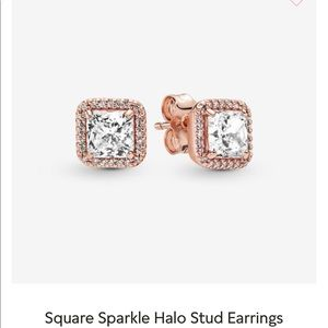 PANDORA Square Halo Stud Earrings
